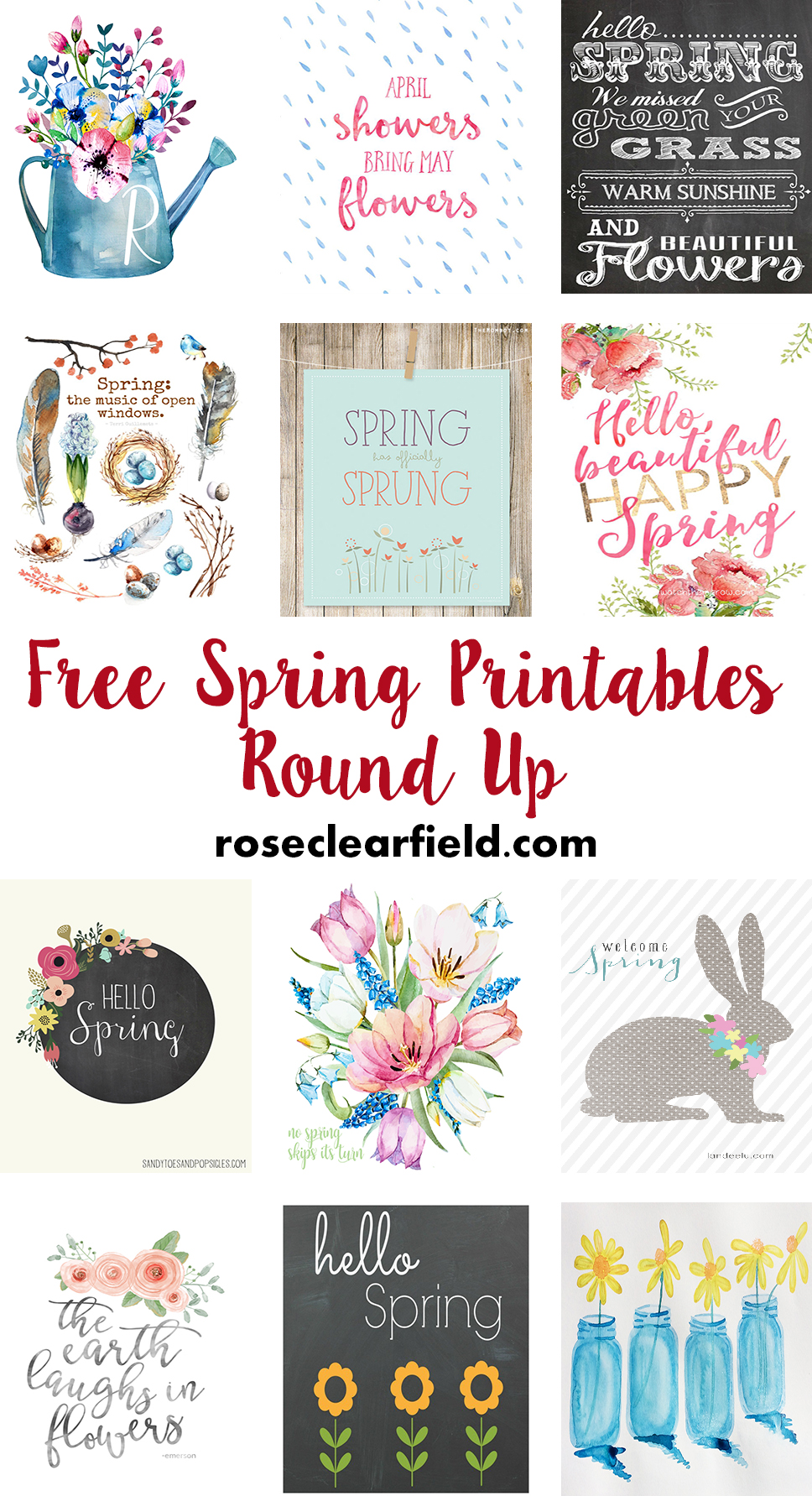 Free Spring Printables Round Up | https://www.roseclearfield.com