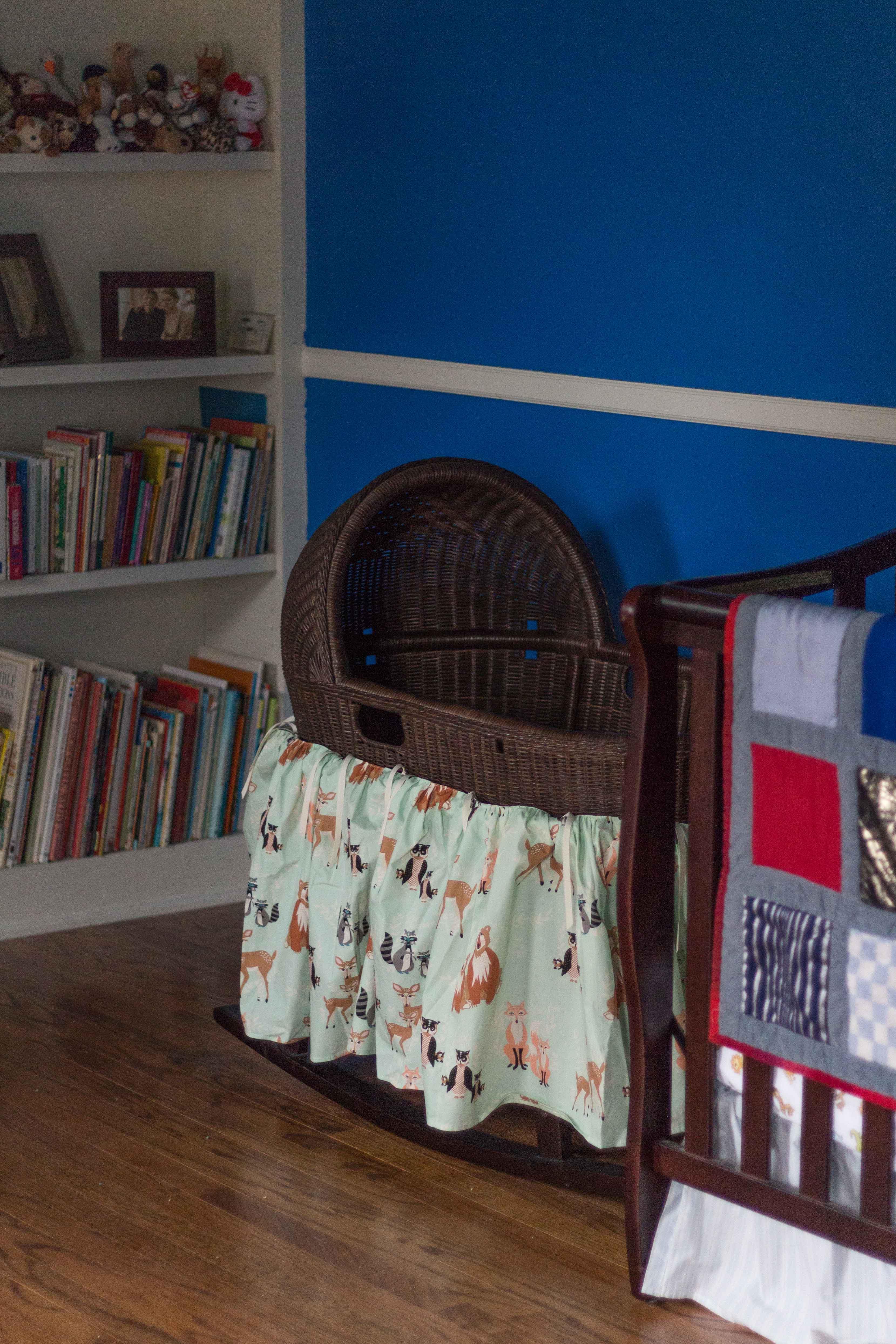 Nursery Bassinet with LittleMoosebyEliza Custom Skirt | https://www.roseclearfield.com