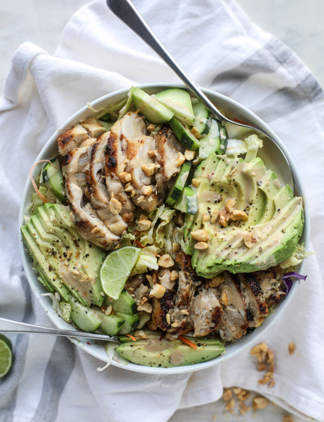 30 Days of Healthy Chicken Dinner Recipes - Chicken Avocado Salad with Peanut Dressing via How Sweet It Is | https://www.roseclearfield.com