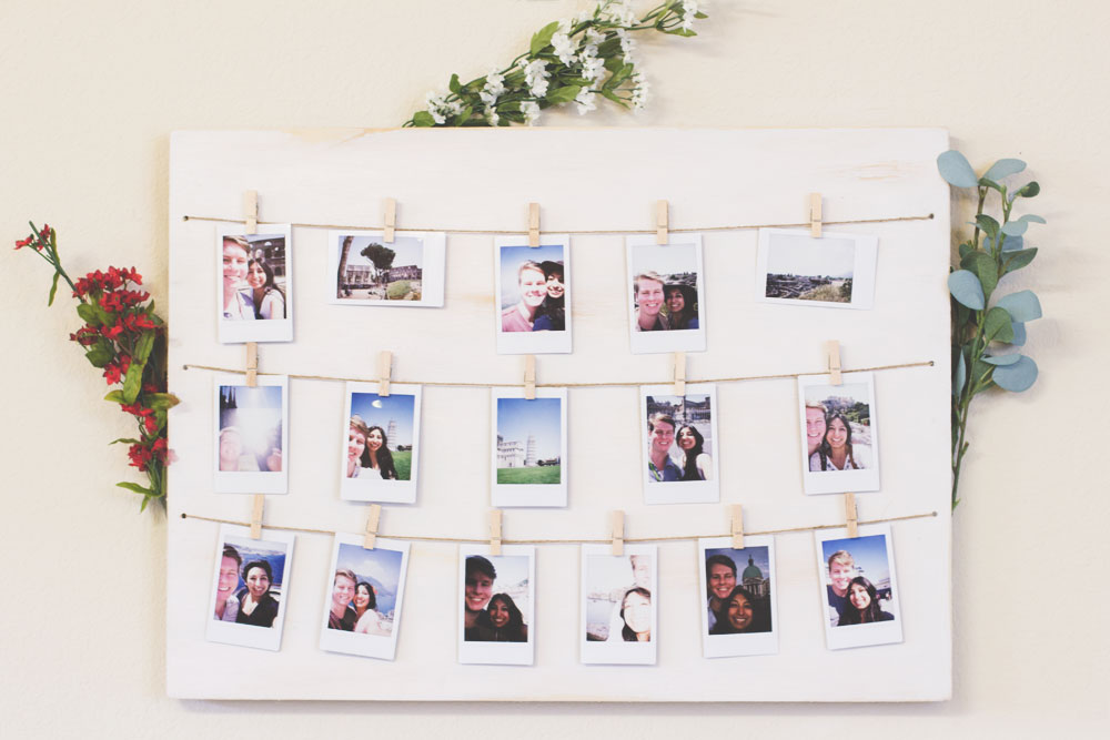 Last Minute DIY Mother's Day Gift Ideas - Clothespin Polaroid Photo Display via The Wanderful Soul | https://www.roseclearfield.com