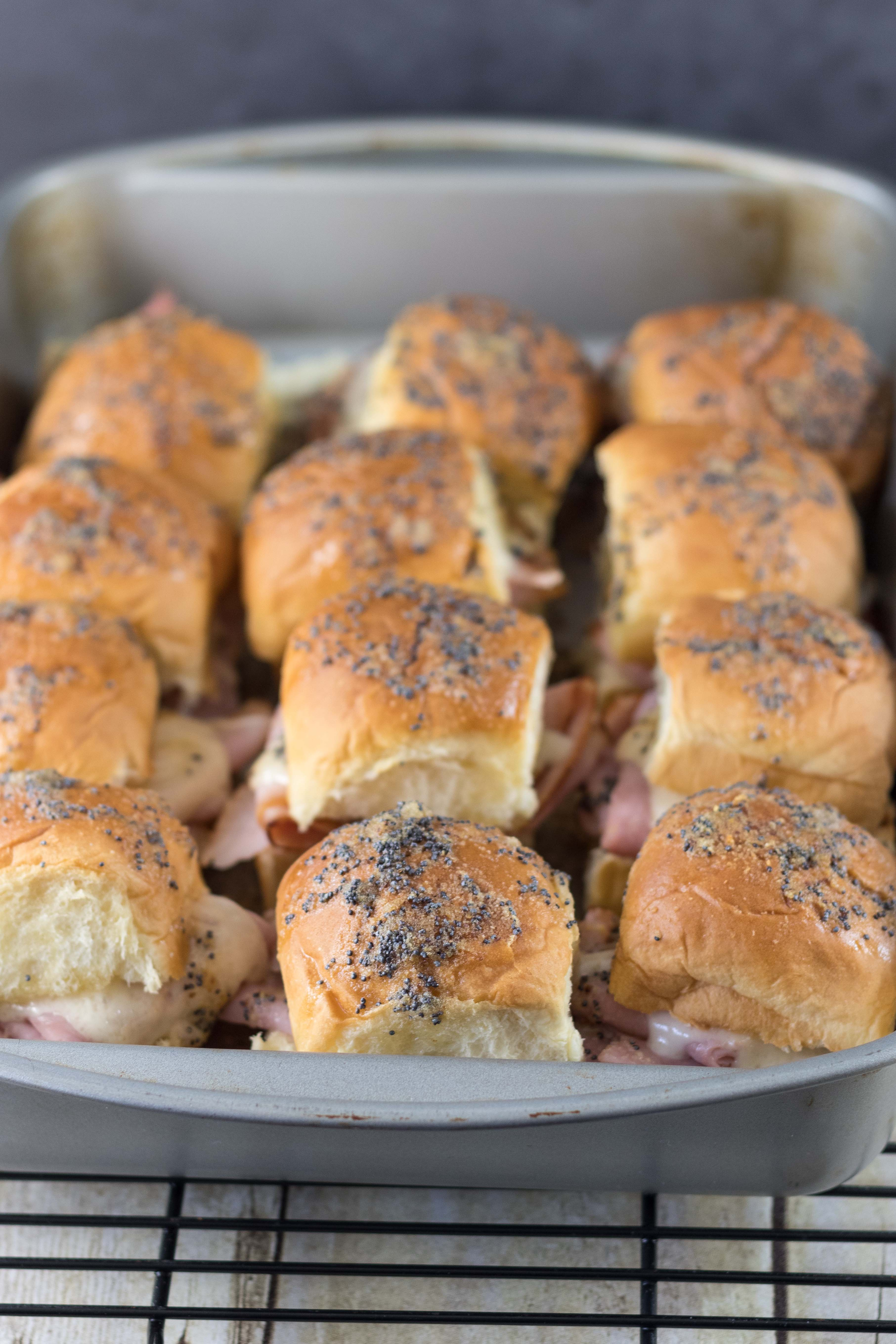 Hawaiian Roll Ham and Swiss Cheese Sliders | https://www.roseclearfield.com