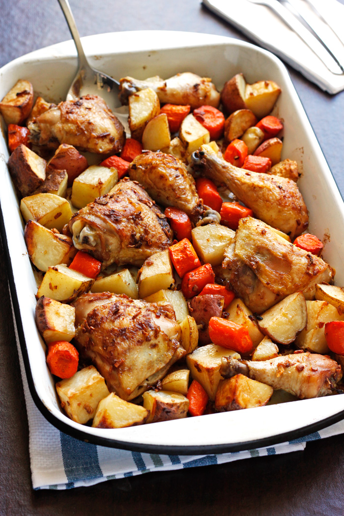 30 Days of Healthy Chicken Dinner Recipes - Onion Roasted Chicken and Potatoes via Pass the Challah | https://www.roseclearfield.com