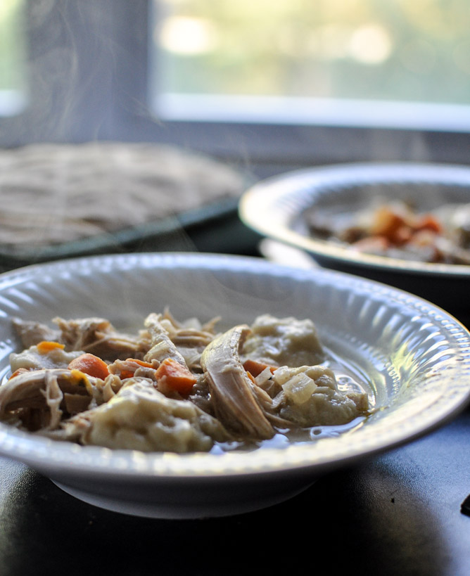 30 Days of Healthy Chicken Dinner Recipes - Slow Cooker Chicken and Dumplings via How Sweet It Is   https://www.roseclearfield.com