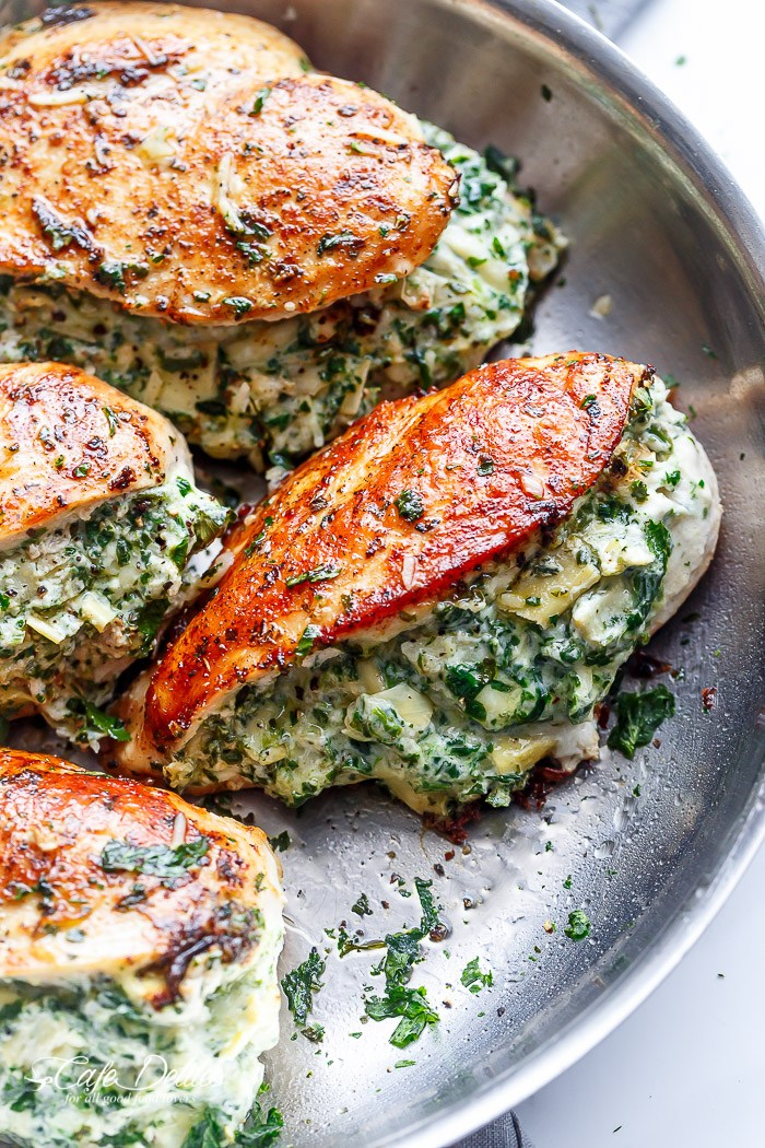 30 Days of Healthy Chicken Dinner Recipes - Spinach Artichoke Stuffed Chicken via Cafe Delites | https://www.roseclearfield.com