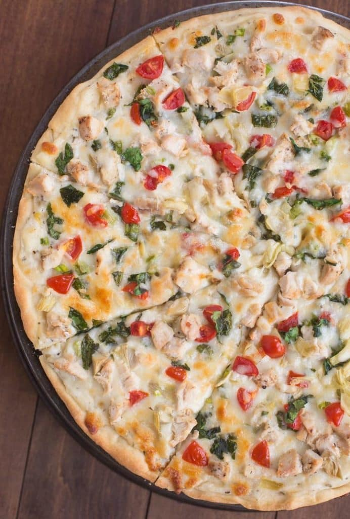 30 Healthy Chicken Dinner Recipes - White Garlic Chicken Vegetable Pizza via Tastes Better From Scratch | https://www.roseclearfield.com