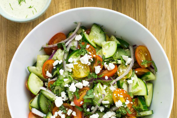Fourth of July Recipe Ideas - Cucumber Tomato Salad with Herb Vinaigrette via Bites of Flavor | https://www.roseclearfield.com