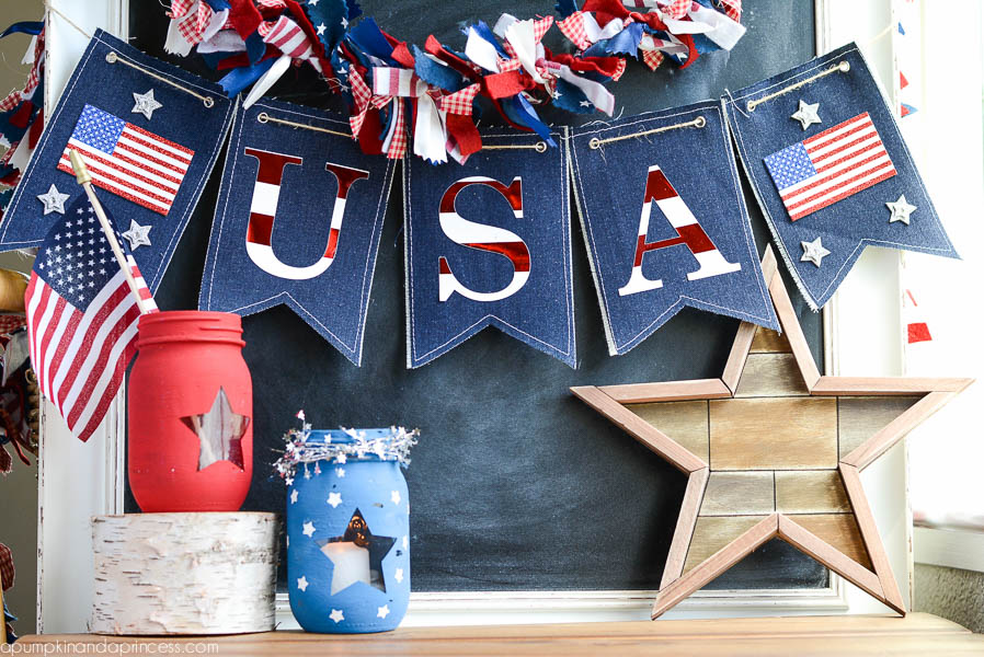 Easy DIY Fourth of July Decorations - DIY Denim Fourth of July Banner via A Pumpkin and a Princess | https://www.roseclearfield.com