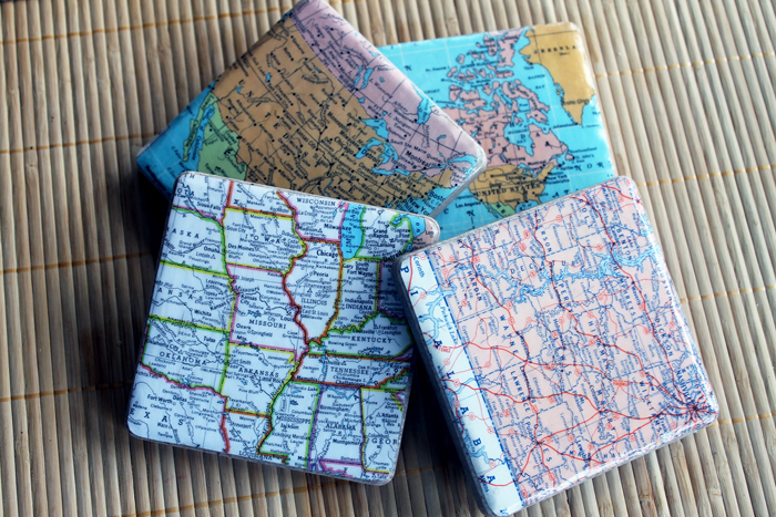 Last Minute DIY Father's Day Gift Ideas - DIY Map Coasters via The Country Chic Cottage | https://www.roseclearfield.com