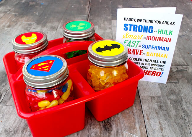 Last Minute DIY Father's Day Gift Ideas - Father's Day Superhero Gift with Free Printables via Sandy Toes and Popsicles | https://www.roseclearfield.com