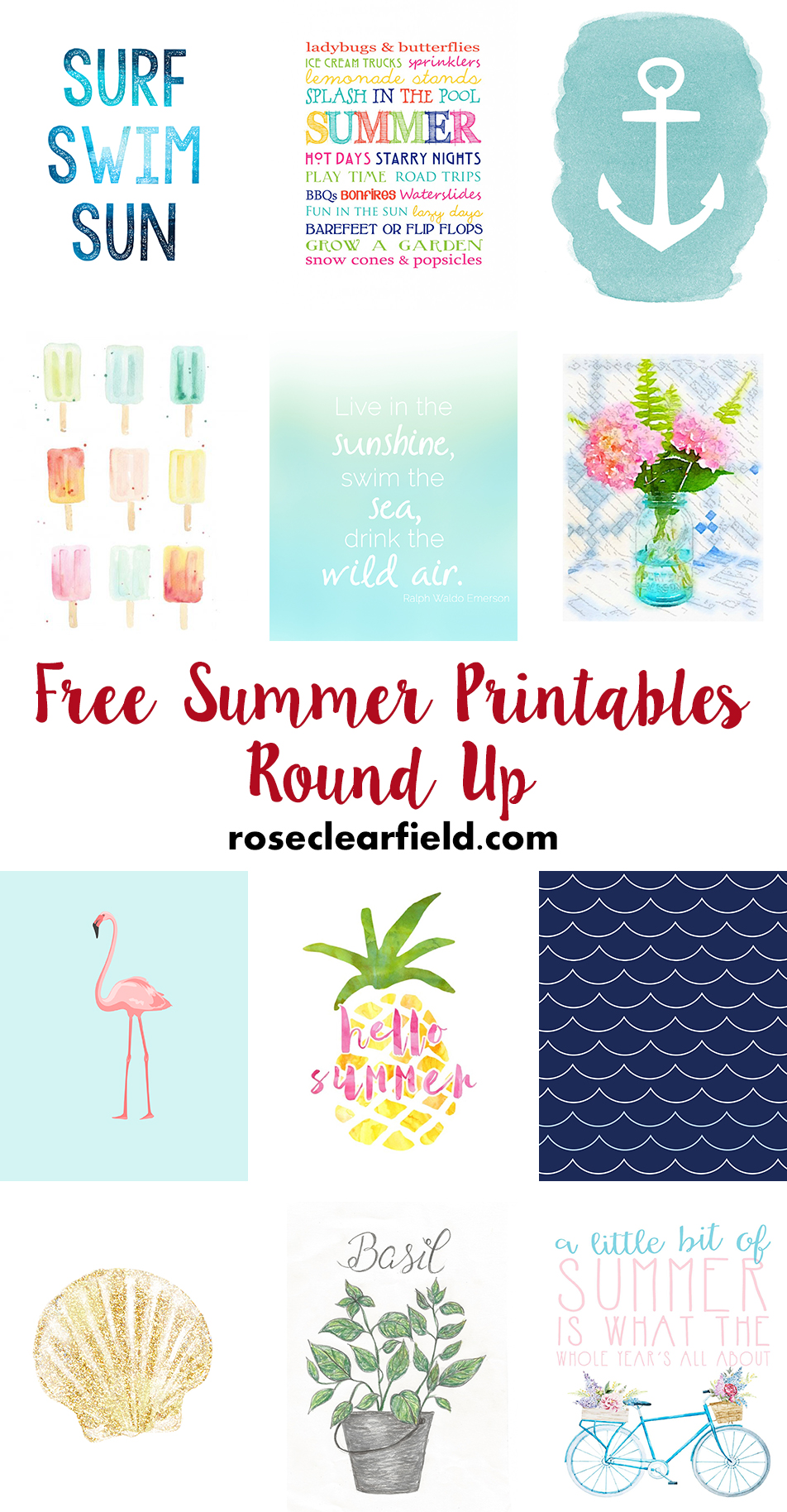 Free Summer Printables | https://www.roseclearfield.com