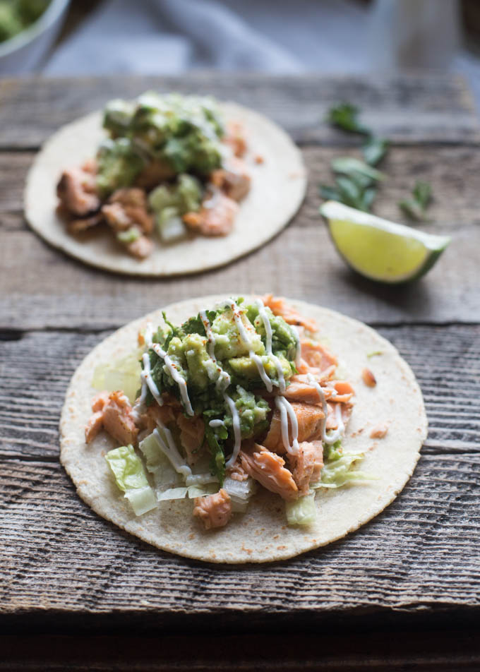 30 Days of Healthy Grilling Recipes - Grilled Salmon Tacos with Avocado Queso Fresco Salsa via Boys Ahoy | https://www.roseclearfield.com