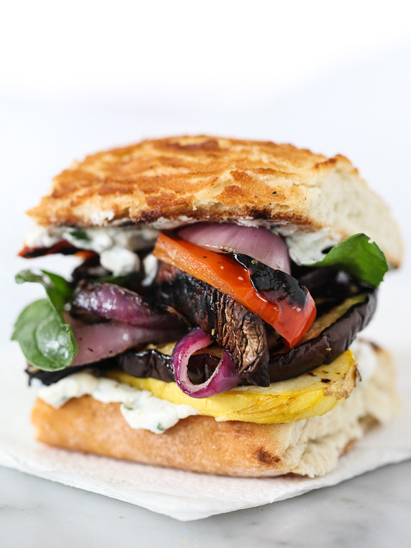 30 Days of Healthy Grilling Recipes - Grilled Vegetable Sandwich with Herbed Ricotta via Foodiecrush | https://www.roseclearfield.com