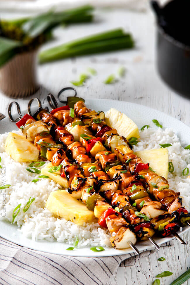 30 Days of Healthy Grilling Recipes - Hawaiian Chicken Kabobs via Carlsbad Cravings | https://www.roseclearfield.com