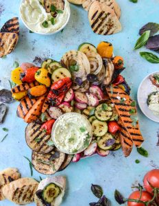30 Days of Healthy Grilling Recipes - Marinated Grilled Vegetables with Avocado Whipped Feta via How Sweet It Is