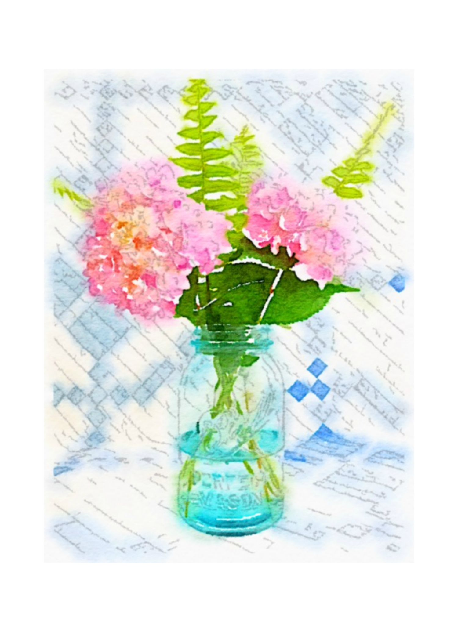 Free Summer Printables - Hydrangeas in Mason Jar Watercolor Print via On Sutton Place | https://www.roseclearfield.com