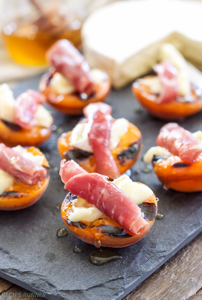 30 Days of Grilled Desserts - Grilled Apricots with Brie, Prosciutto, and Honey via Recipe Runner | https://www.roseclearfield.com