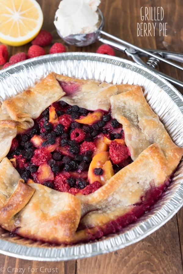 30 Days of Grilled Dessert - Grilled Berry Pie via Crazy for Crust   https://www.roseclearfield.com