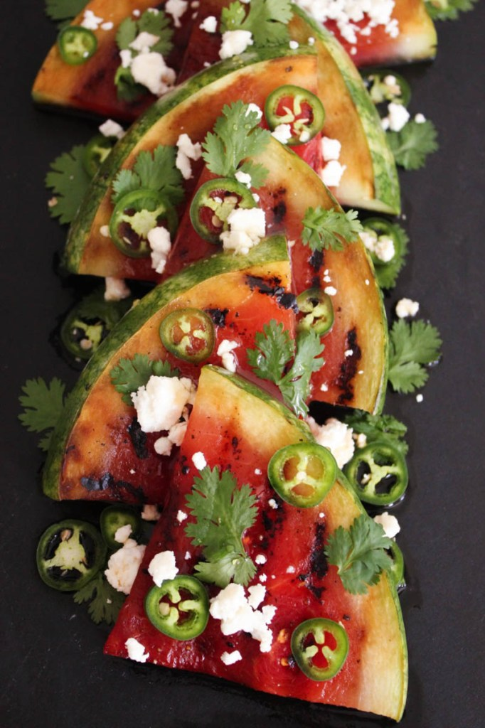 30 Days of Grilled Desserts - Grilled Watermelon with Jalapenos, Feta, and Honey via Domesticate Me   https://www.roseclearfield.com
