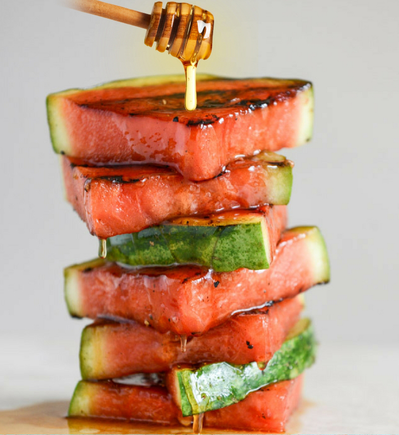30 Days of Grilled Desserts - Honey Glazed Grilled Watermelon via Grill Lovers   https://www.roseclearfield.com
