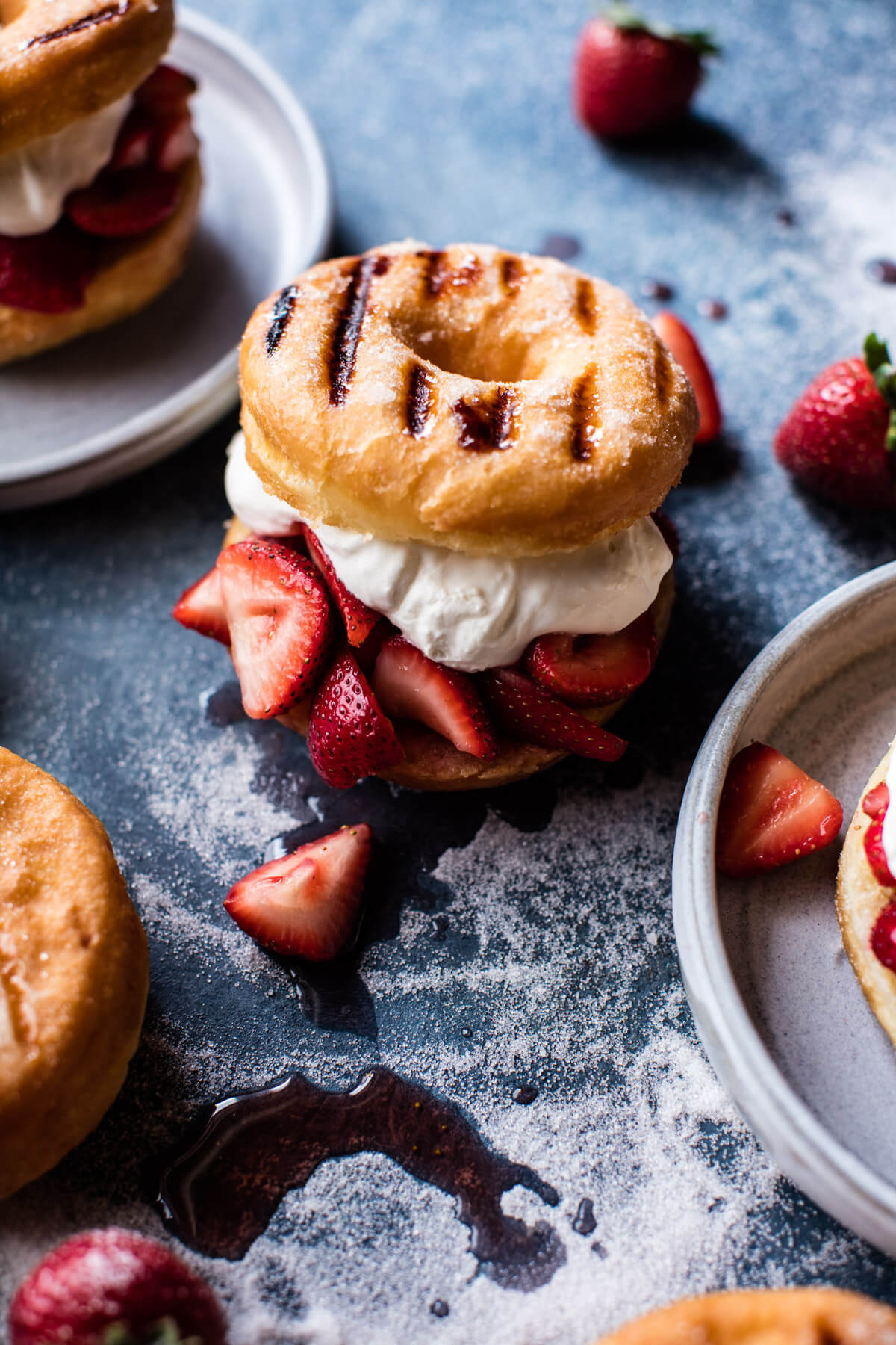 30 Days of Grilled Desserts - Strawberry Shortcake Grilled Doughnuts via Half Baked Harvest | https://www.roseclearfield.com