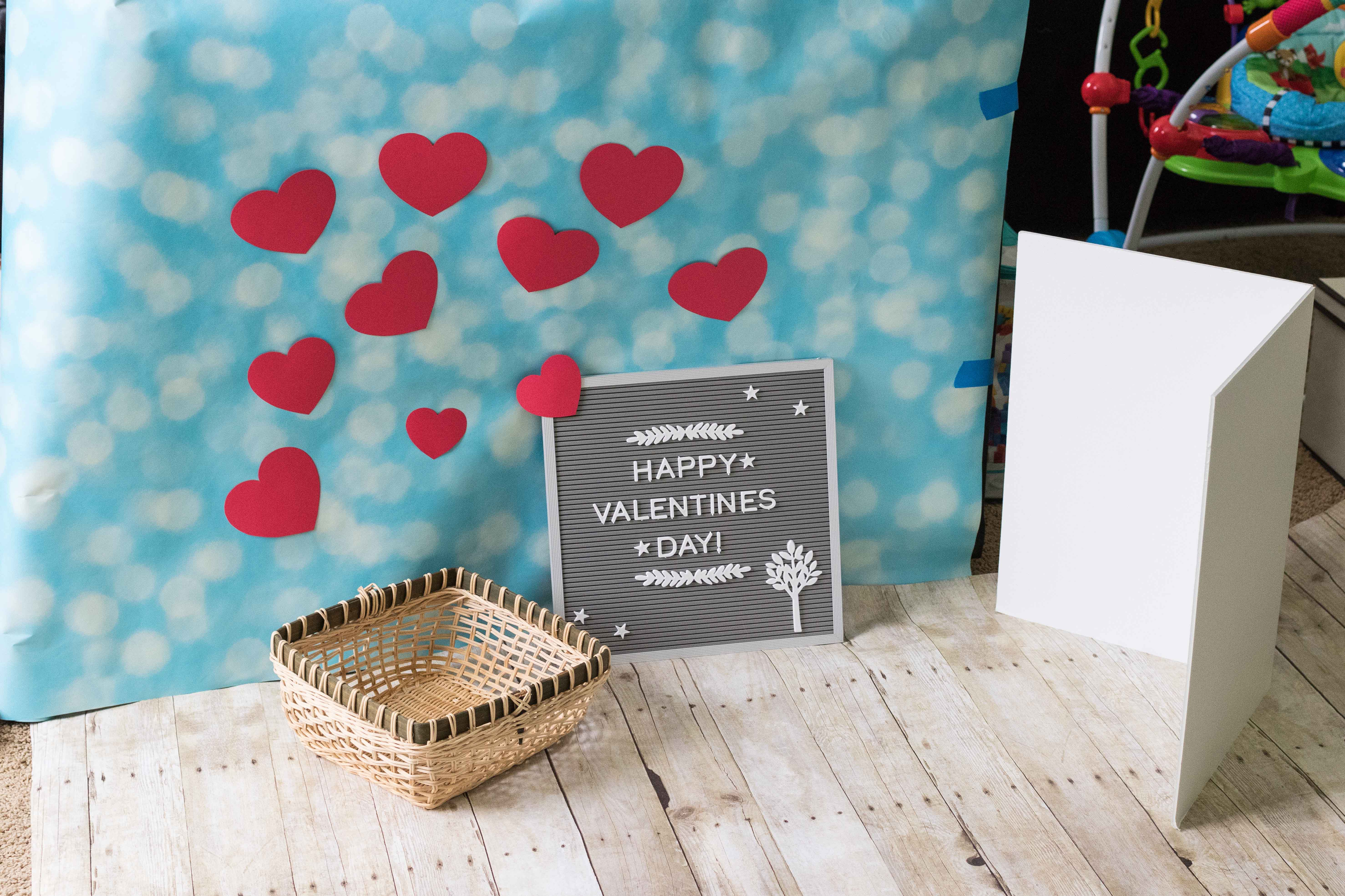 Valentine's Day Baby Photo Idea Setup | https://www.roseclearfield.com