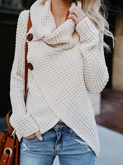 Casual Long Sleeve Front Cross Sweater via She Lovin | https://www.roseclearfield.com