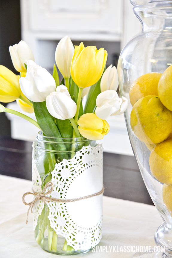 Spring Mason Jar Decor - Doily and Twine Wrapped Mason Jars via Yellow Bliss Road | https://www.roseclearfield.com