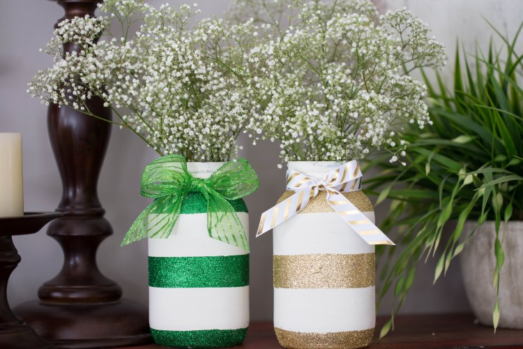 Green and Gold Glitter Striped Mason Jars This via Grandma Is Fun | https://www.roseclearfield.com