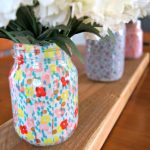 Spring Mason Jar Decor - Layed Fabric Spring Mason Jars via Dwelling in Happiness | https://www.roseclearfield.com