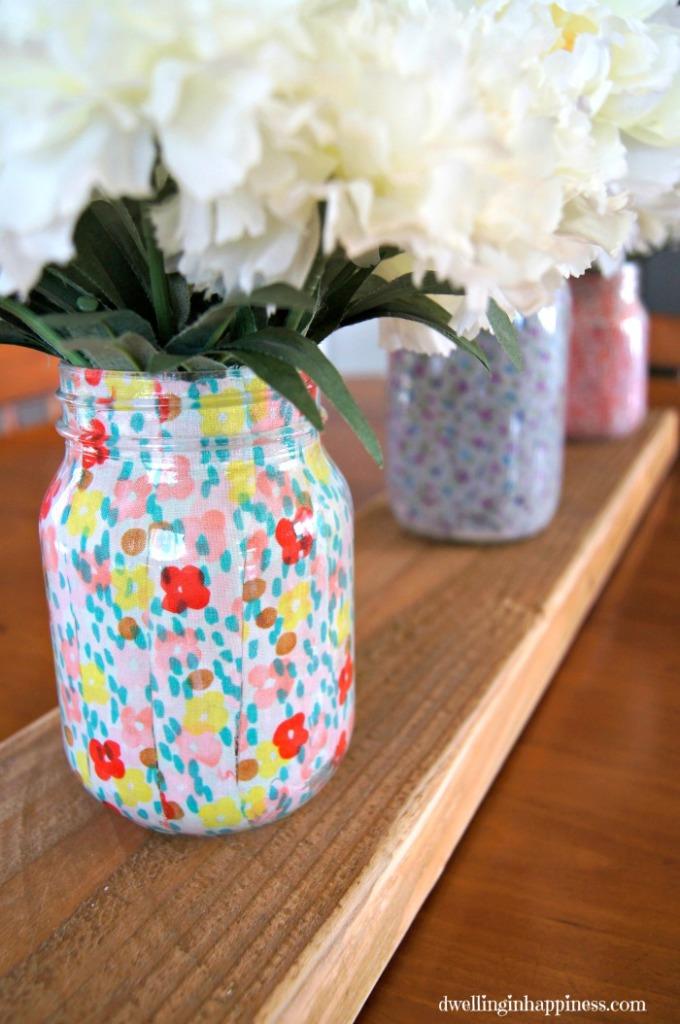 Spring Mason Jar Decor - Layed Fabric Spring Mason Jars via Dwelling in Happiness | https://www.roseclearfield.com