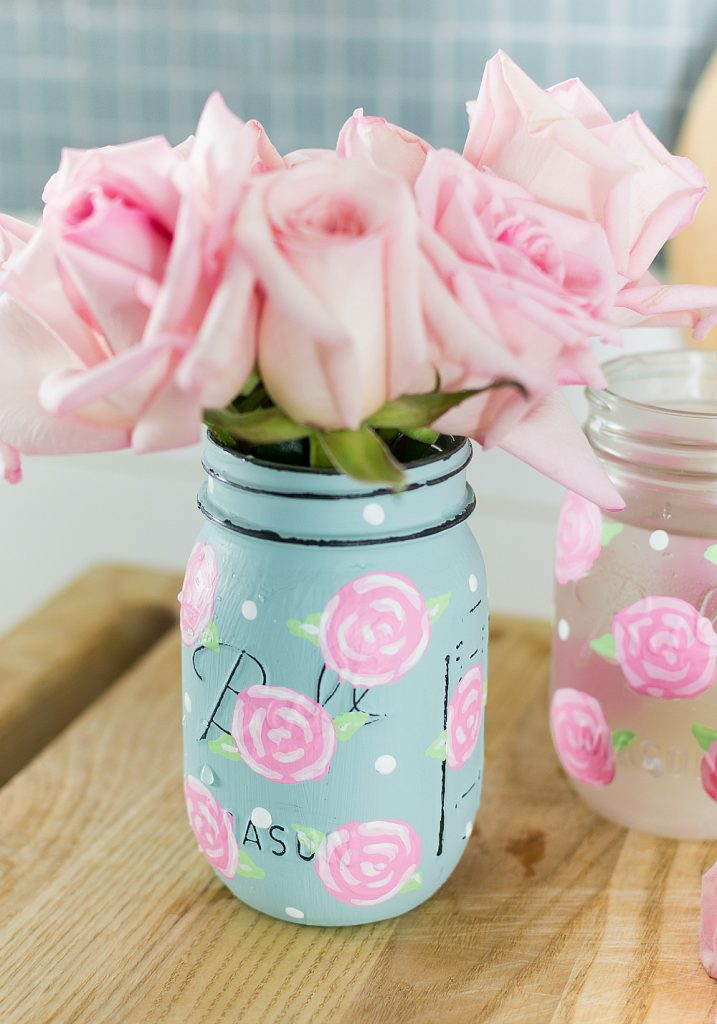Spring Mason Jar Decor - Painted Rose Mason Jars via It All Started With Paint | https://www.roseclearfield.com