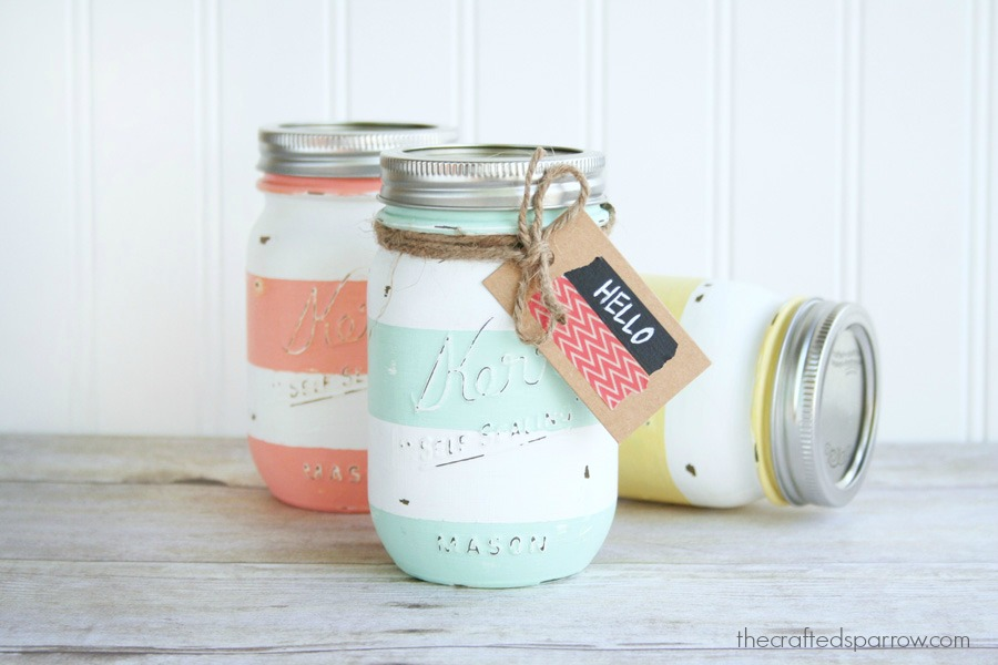 Spring Mason Jar Decor - Spring Inspired Striped Mason Jars via The Crafted Sparrow | https://www.roseclearfield.com