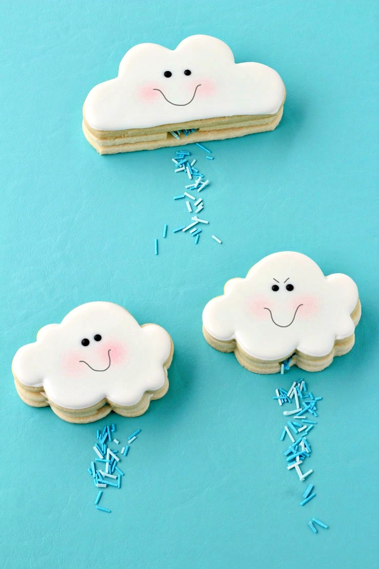 April Showers Bring May Flowers - Cloud Cookies That Actually Rain via The Bearfoot Baker | https://www.roseclearfield.com