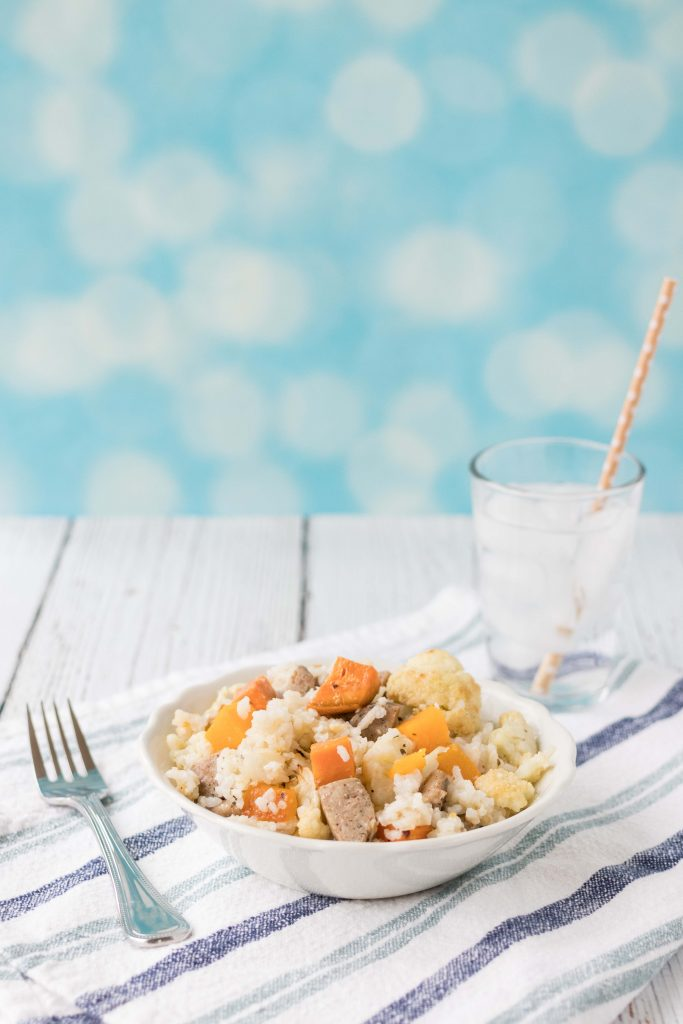 Coconut Rice with Vegetables and Chicken Sausage | https://www.roseclearfield.com