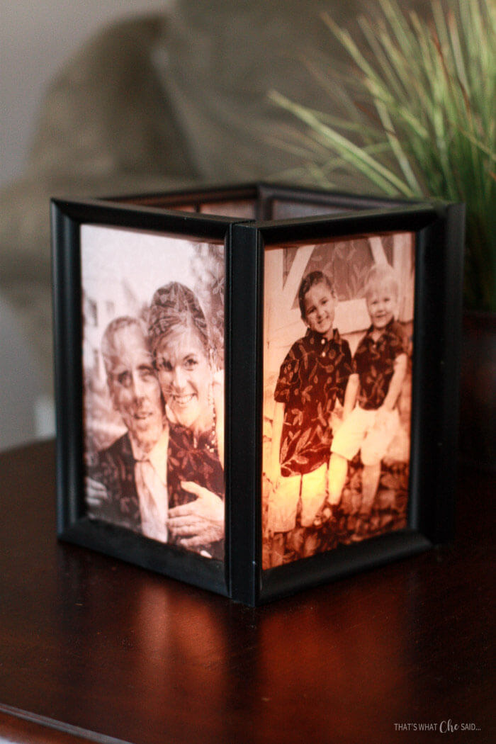 Unique Mother's Day Photo Gift Ideas - Picture Frame Luminaries via That's What Che Said | https://www.roseclearfield.com