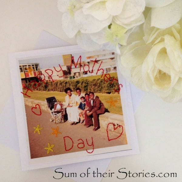 Unique Mother's Day Photo Gift Ideas - Stitched Photo Mother's Day Card, Sum of their Stories via The Pinning Mama | https://www.roseclearfield.com