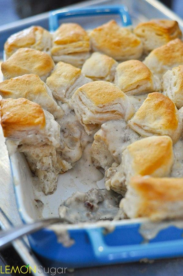 Breakfast for Dinner Ideas - Biscuits and Gravy Casserole via Lemon Sugar | https://www.roseclearfield.com