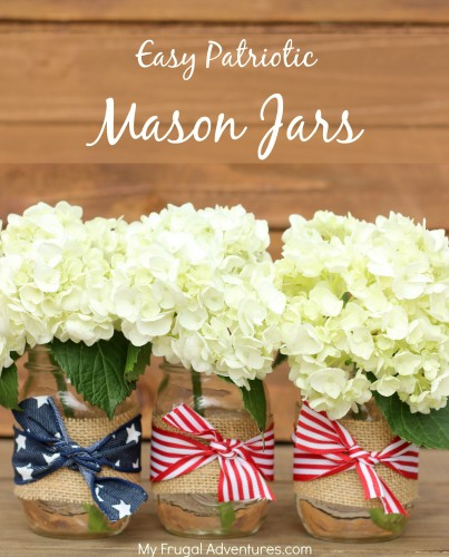 4th of July Mason Jar Decor - Burlap and Ribbon Mason Jars via My Frugal Adventures | https://www.roseclearfield.com