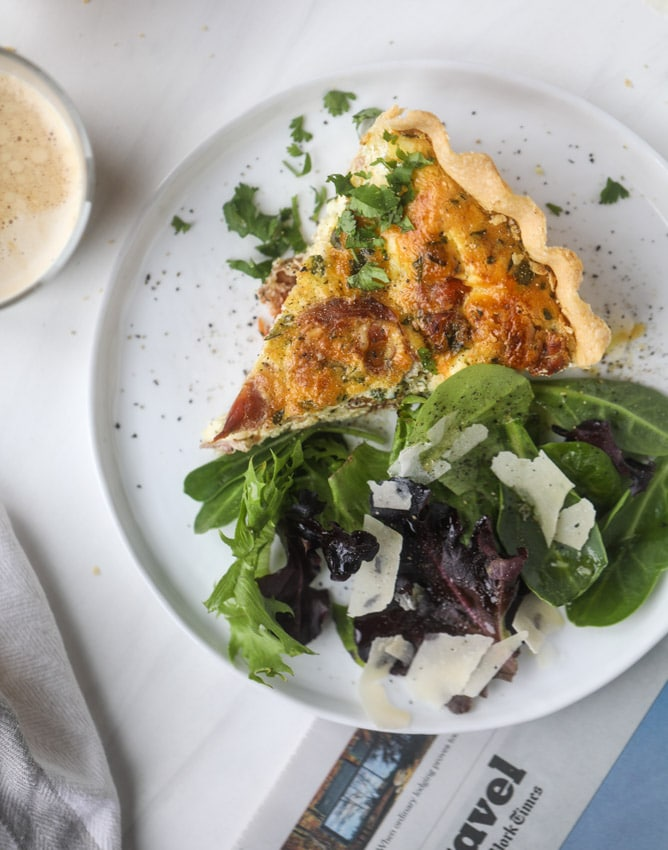 Breakfast for Dinner Ideas - Burst Tomato Prosciutto and Goat Cheese Quiche via How Sweet Eats | https://www.roseclearfield.com