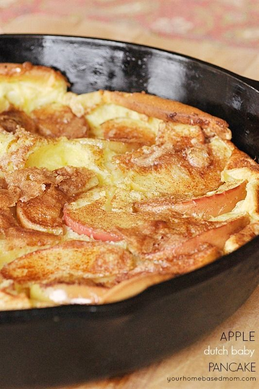 Breakfast for Dinner Ideas - Cinnamon Apple Dutch Baby Pancake via Your Home Based Mom | https://www.roseclearfield.com