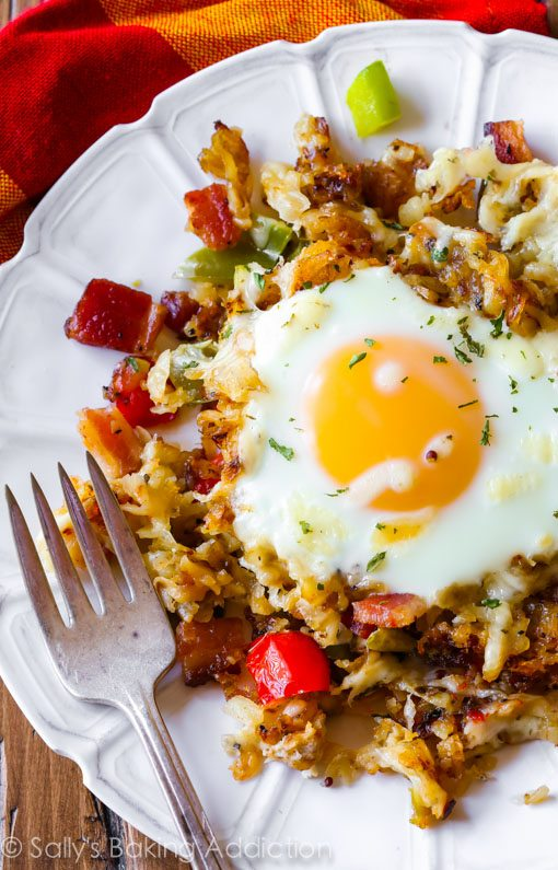 Breakfast for Dinner Ideas - Crispy Hash Breakfast Skillet Sally's via Baking Addiction | https://www.roseclearfield.com