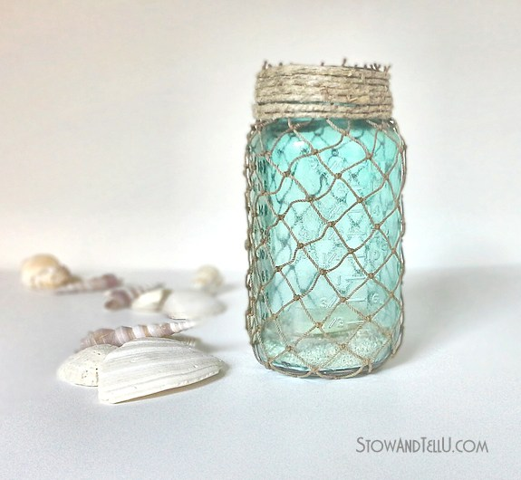 Summer Mason Jar Decor - Fisherman Netting Mason Jar via Stow and Tell U | https://www.roseclearfield.com