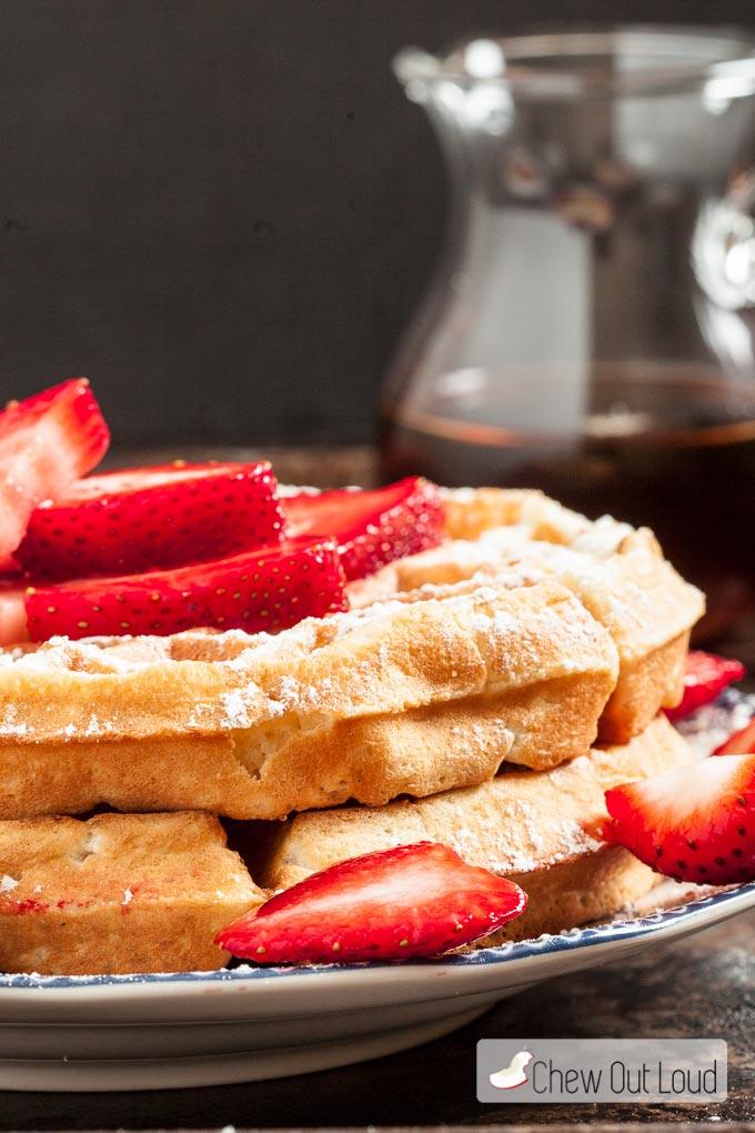 Breakfast for Dinner Ideas - Fluffy Belgian Waffles via Chew Out Loud | https://www.roseclearfield.com