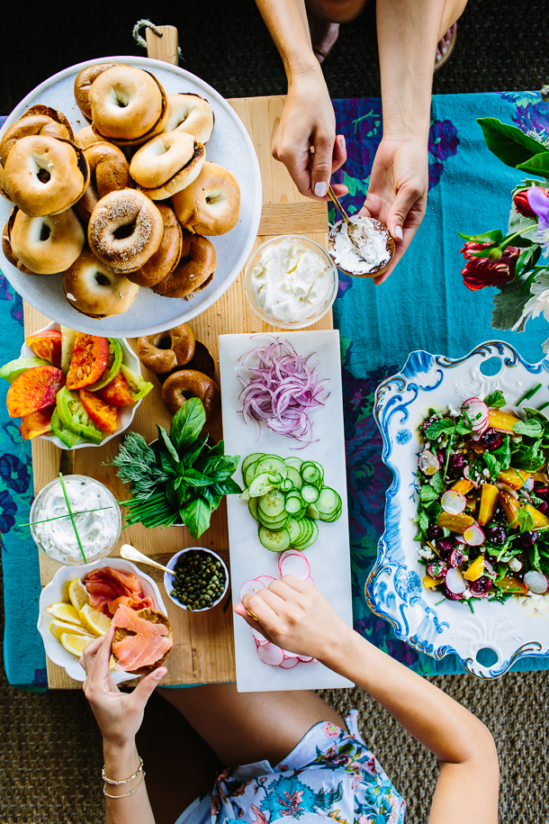 Breakfast for Dinner Ideas - How to Set Up the Perfect Bagel Bar via Camille Styles | https://www.roseclearfield.com
