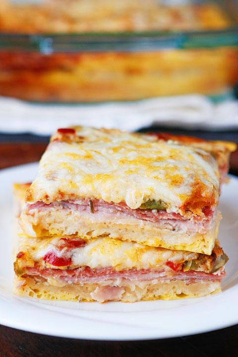 Breakfast for Dinner Ideas - Italian Breakfast Casserole via Kevin and Amanda | https://www.roseclearfield.com