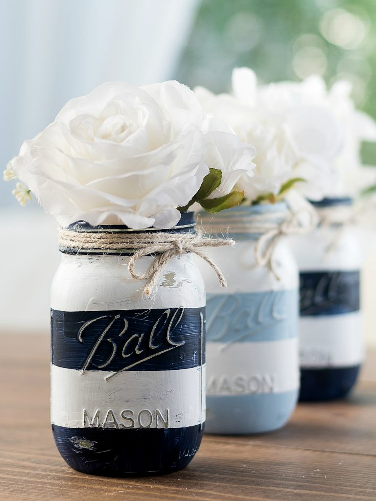 Summer Mason Jar Decor - Nautical Striped Mason Jars via It All Started With Paint | https://www.roseclearfield.com