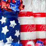 4th of July Mason Jar Decor - Red White and Blue Flag Mason Jars via It All Started With Paint