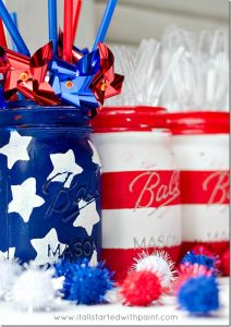 4th of July Mason Jar Decor - Red White and Blue Flag Mason Jars via It All Started With Paint | https://www.roseclearfield.com