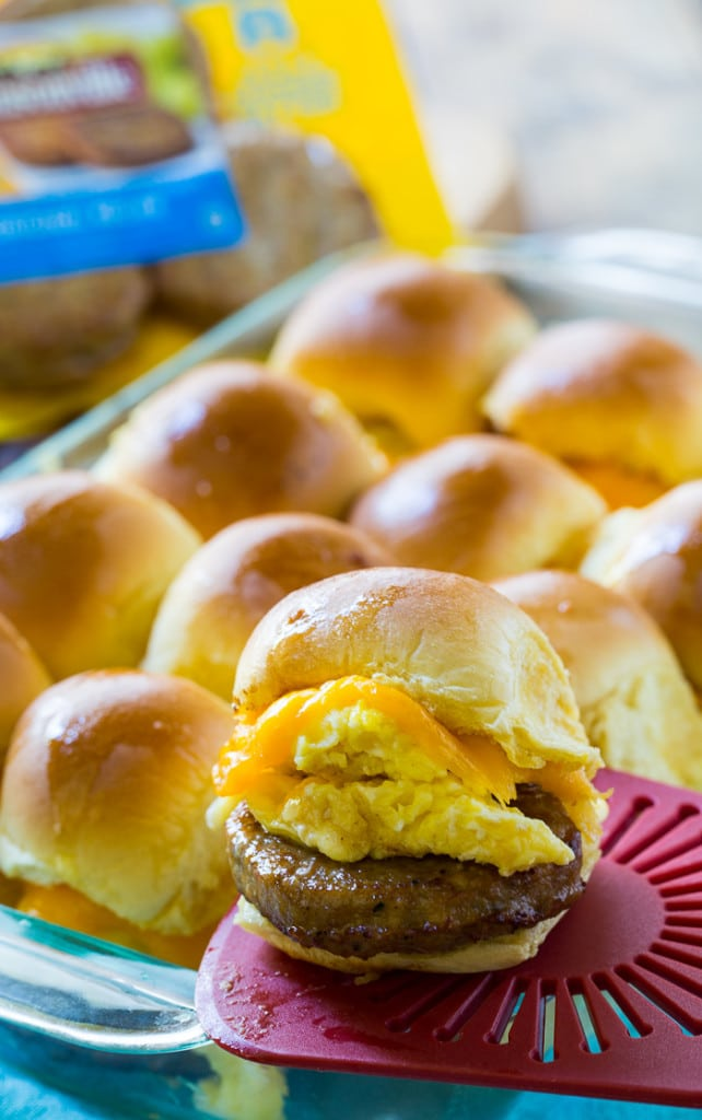 Breakfast for Dinner Ideas - Sausage and Egg Breakfast Sliders via Spicy Southern Kitchen | https://www.roseclearfield.com