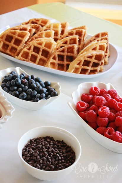 Breakfast for Dinner Ideas - Waffle Bar via One Sweet Appetite | https://www.roseclearfield.com